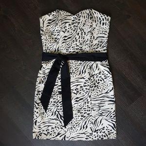 H&M Strapless Cream Animal Print Dress